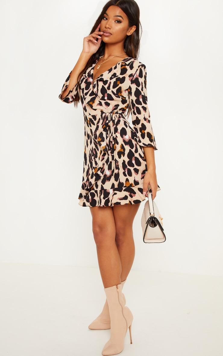 Leopard Print Wrap Tea Dress 3