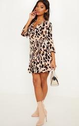 Leopard Print Wrap Tea Dress 4