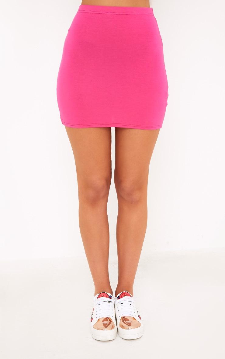 Basic Hot Pink Mini Skirt 2