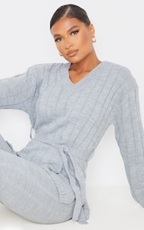 Grey Belted Longline Sweater And Legging Lounge Set 4