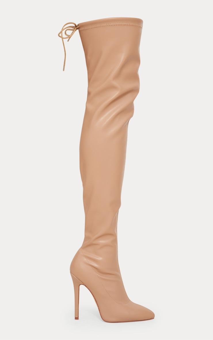 Beige PU Pointed Thigh High Boot 3