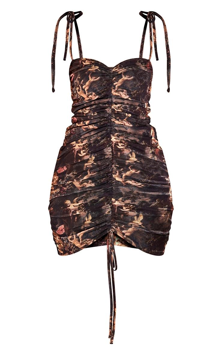 Black Renaissance Print Ruched Strappy Bodycon Dress 5