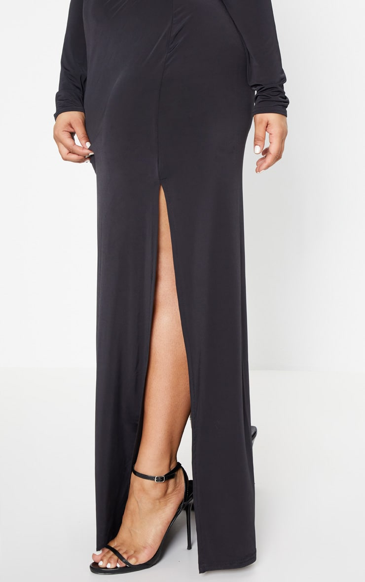 Plus Black Slinky Bardot Maxi Dress 5