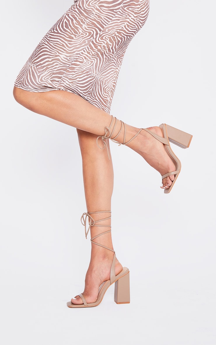 Sand PU Lace Up Block High Heels 1