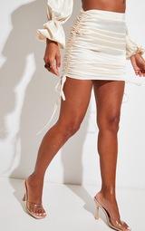 Cream Satin Ruched Side Mini Skirt 2