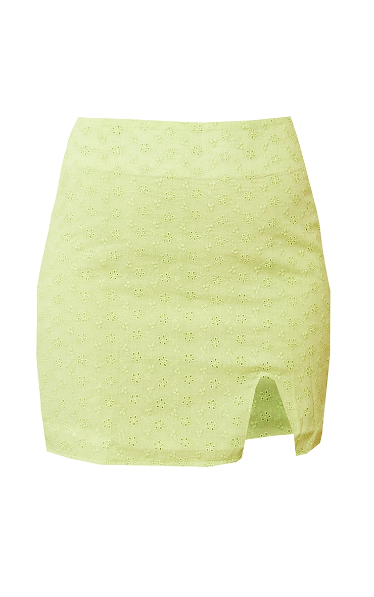 Lime Green Broderie Split Detail Mini Skirt 6