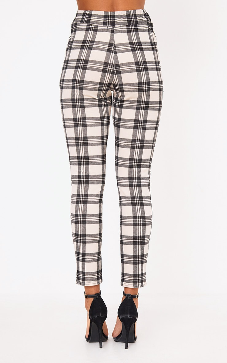 Stone Check Print Skinny Trousers 4