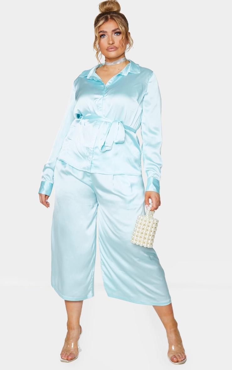 Plus Blue Satin Culottes 1