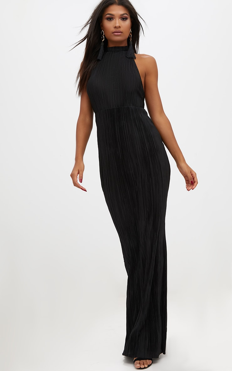 Black Pleated High Neck Maxi Dress 1