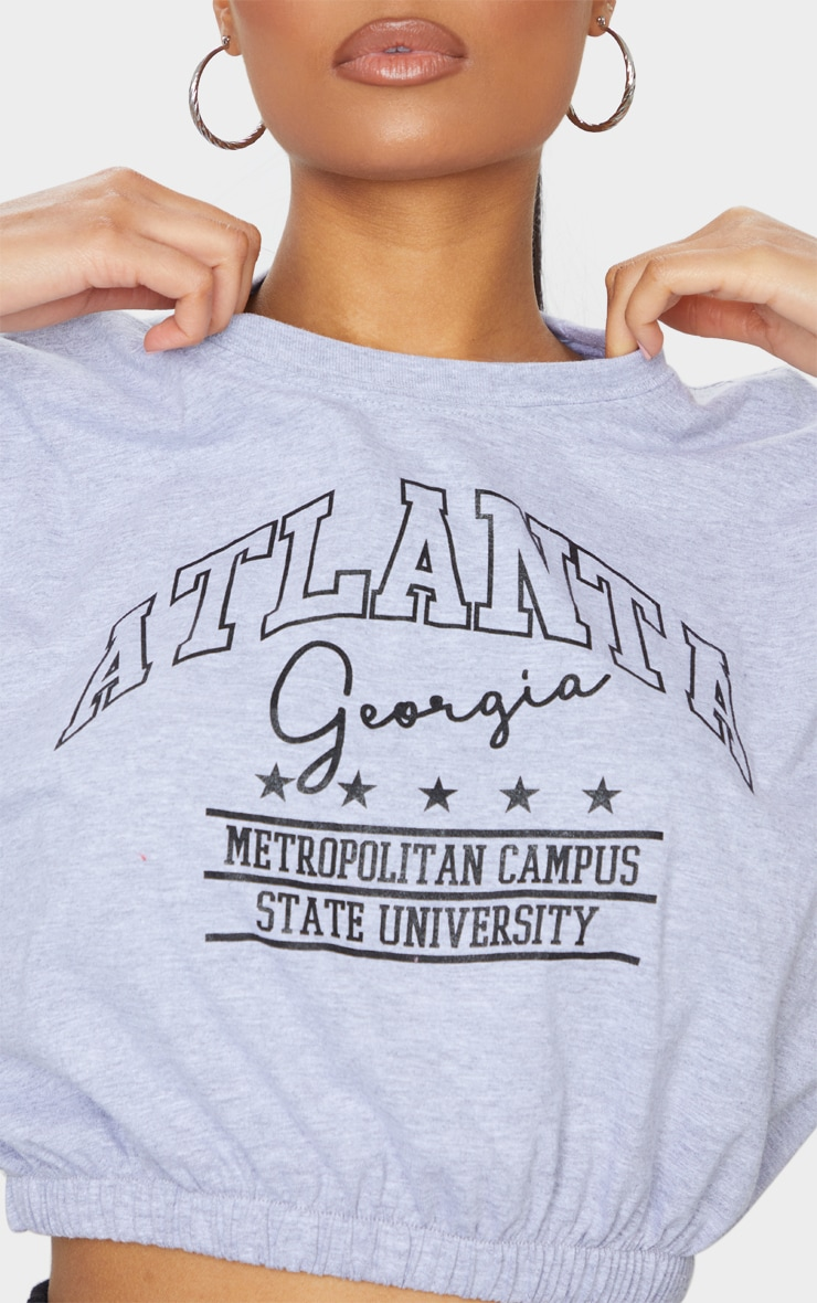Grey Printed Atlanta Cropped T Shirt 4