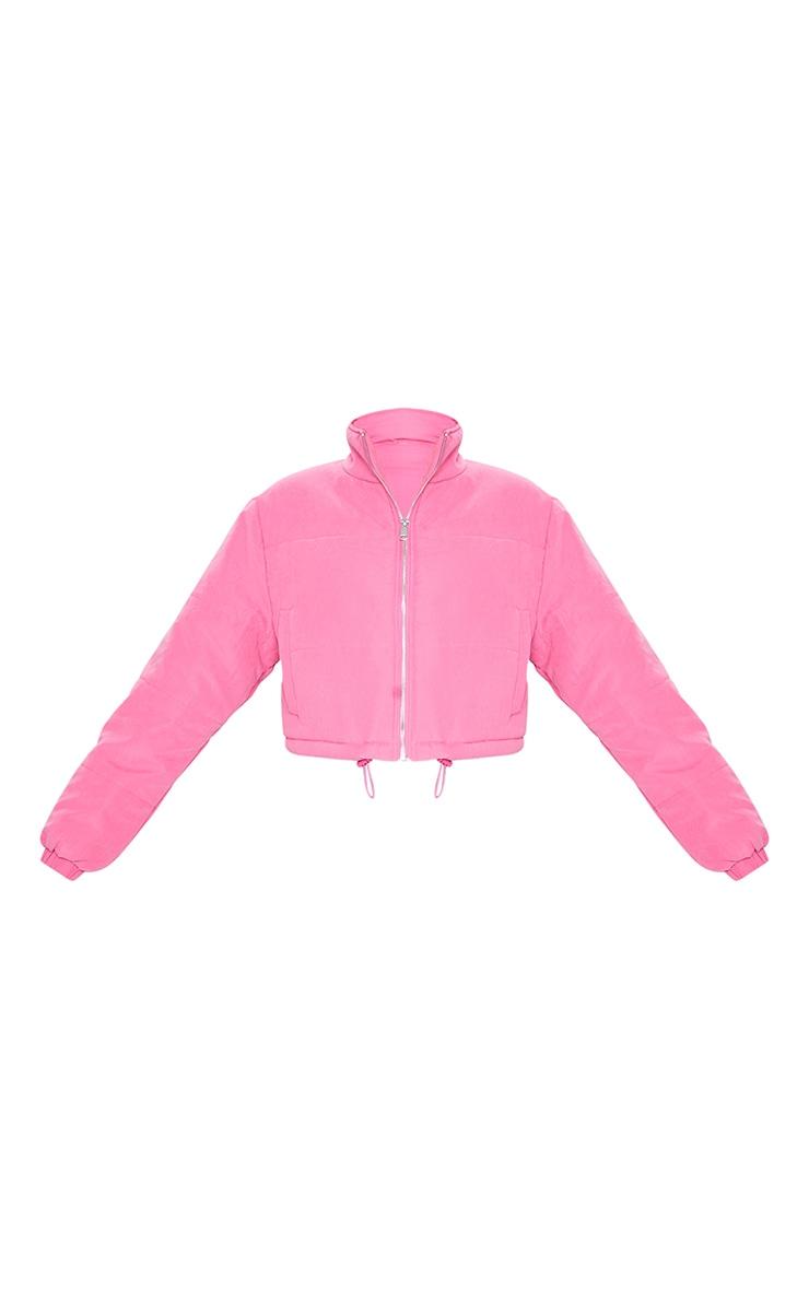 Pink Super Cropped Peach Skin Puffer 5