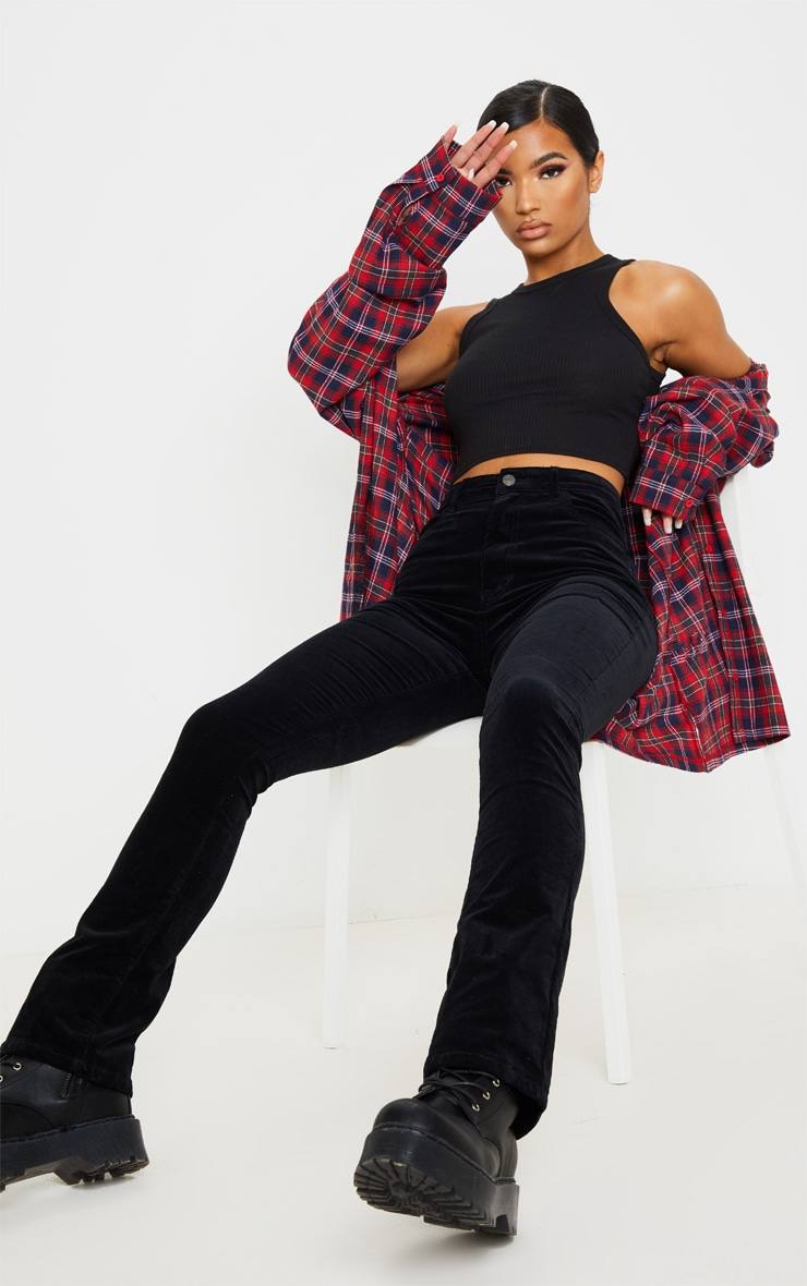 Black Cord Flare Jeans image 1