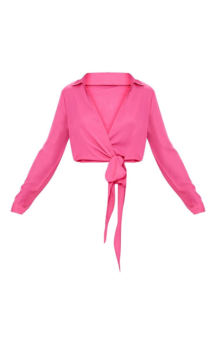 Fuschia Avalyn Wrap Front Tie Side Blouse 3