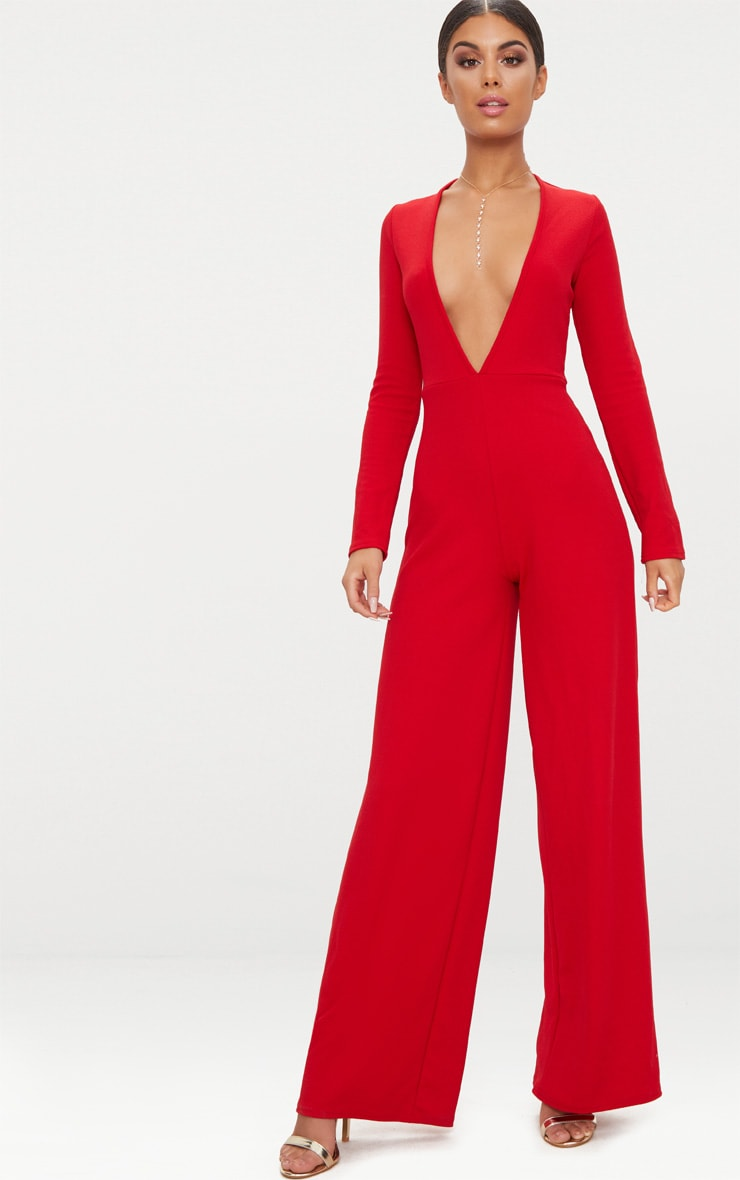 Red Crepe Long Sleeve Plunge Jumpsuit  1