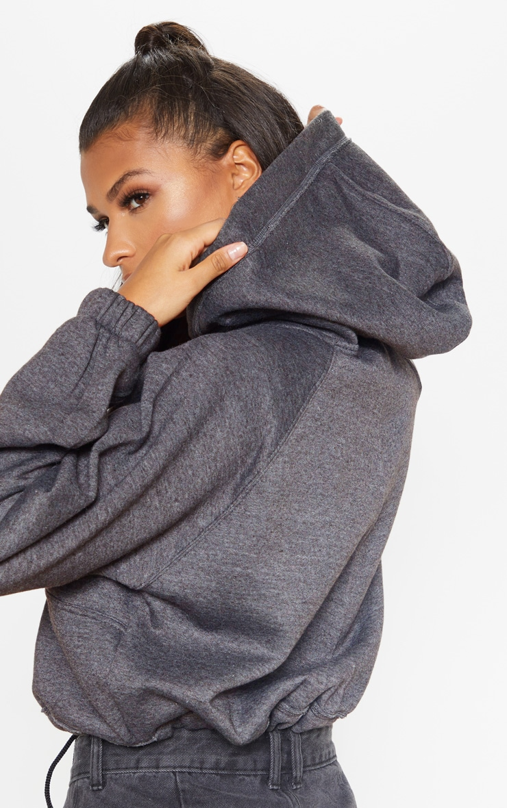 Charcoal Grey Button Front Oversized Hoodie 5