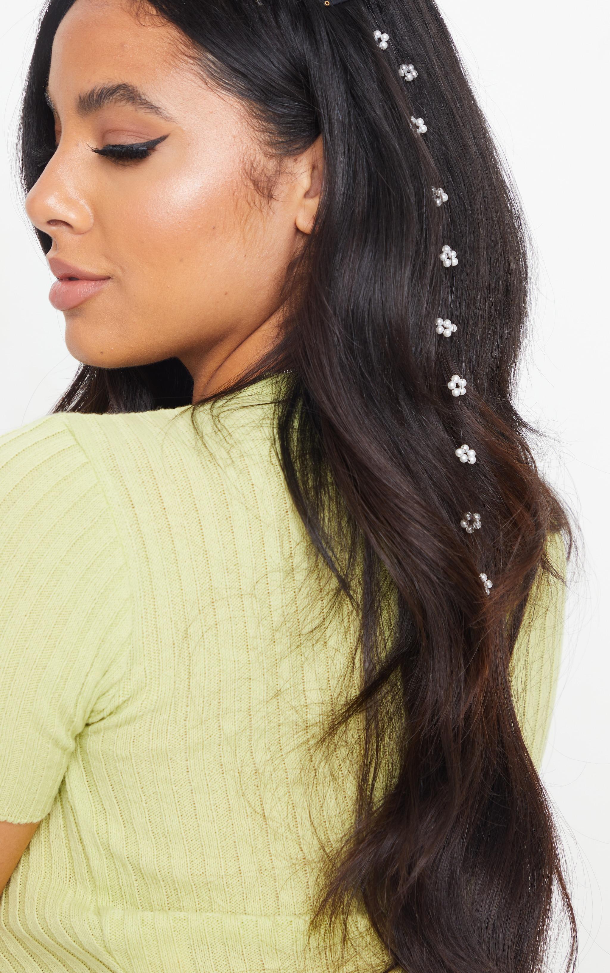 White Long Pearl Hair Clip 1