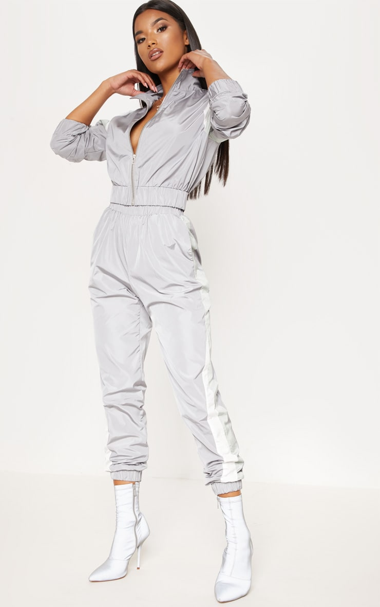 Grey Stripe Shell Tracksuit Jogger