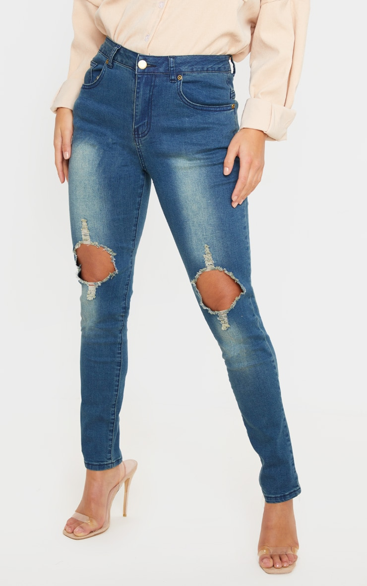 Petite Vintage Wash Distressed Knee Skinny Jean  2
