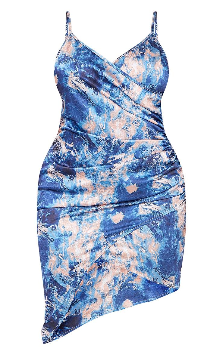 Shape Teal Tie Dye Satin Wrap Dress 5