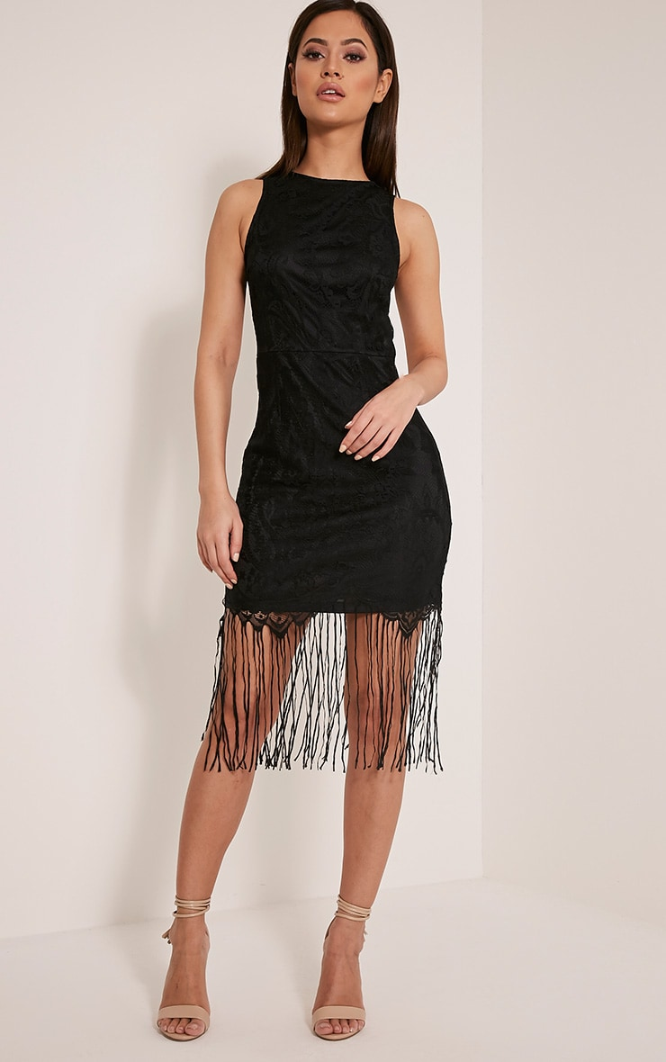 Aleesha Black Open Back Lace Tassel Bodycon Dress 1