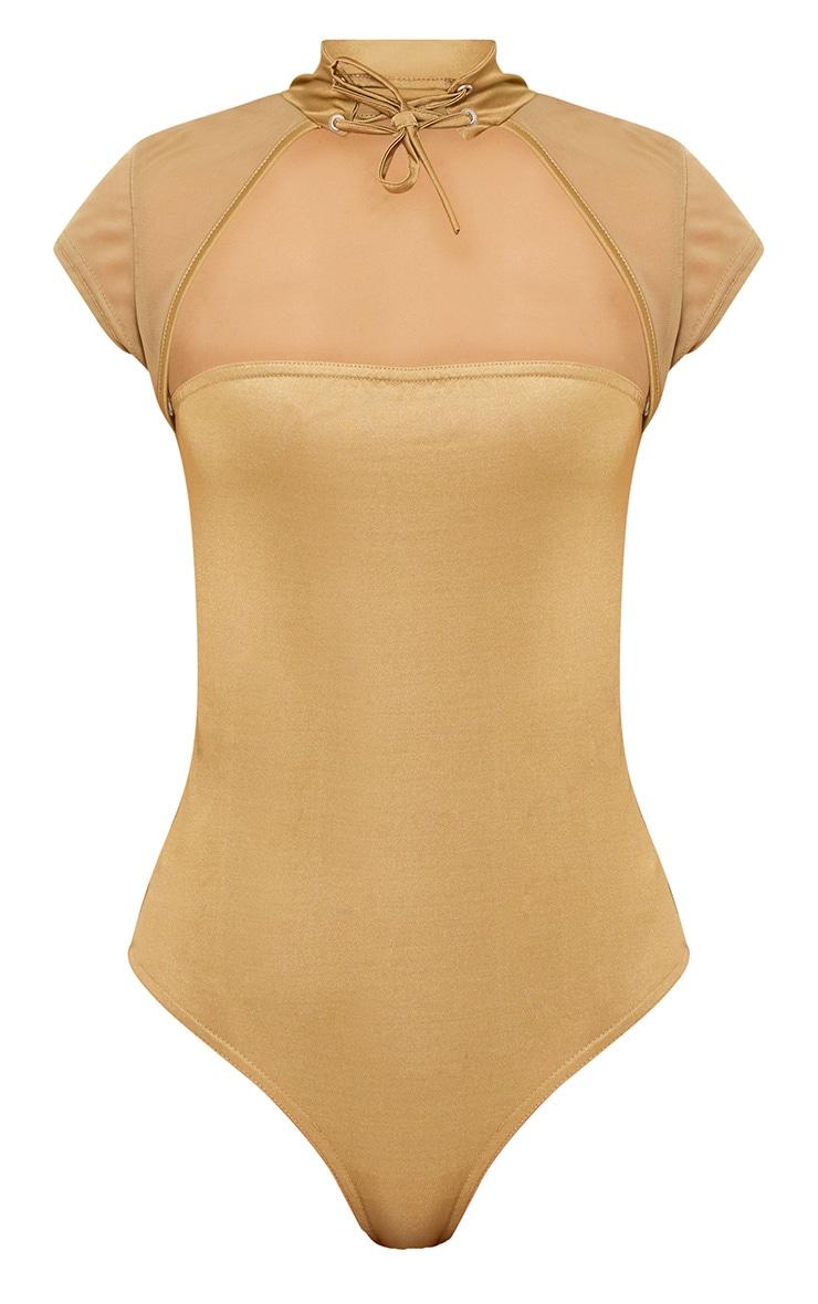 Khaki Slinky Mesh Choker Square Cut Thong Bodysuit 3