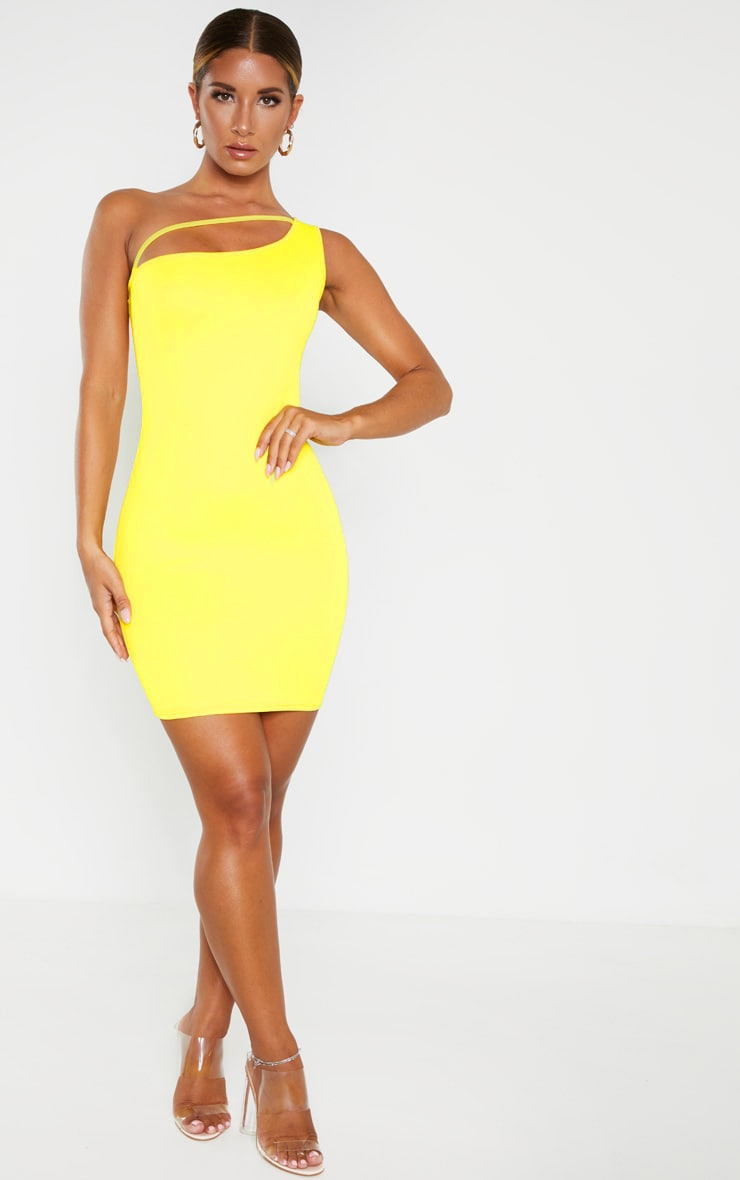 Yellow One Shoulder Strap Detail Bodycon Dress 1
