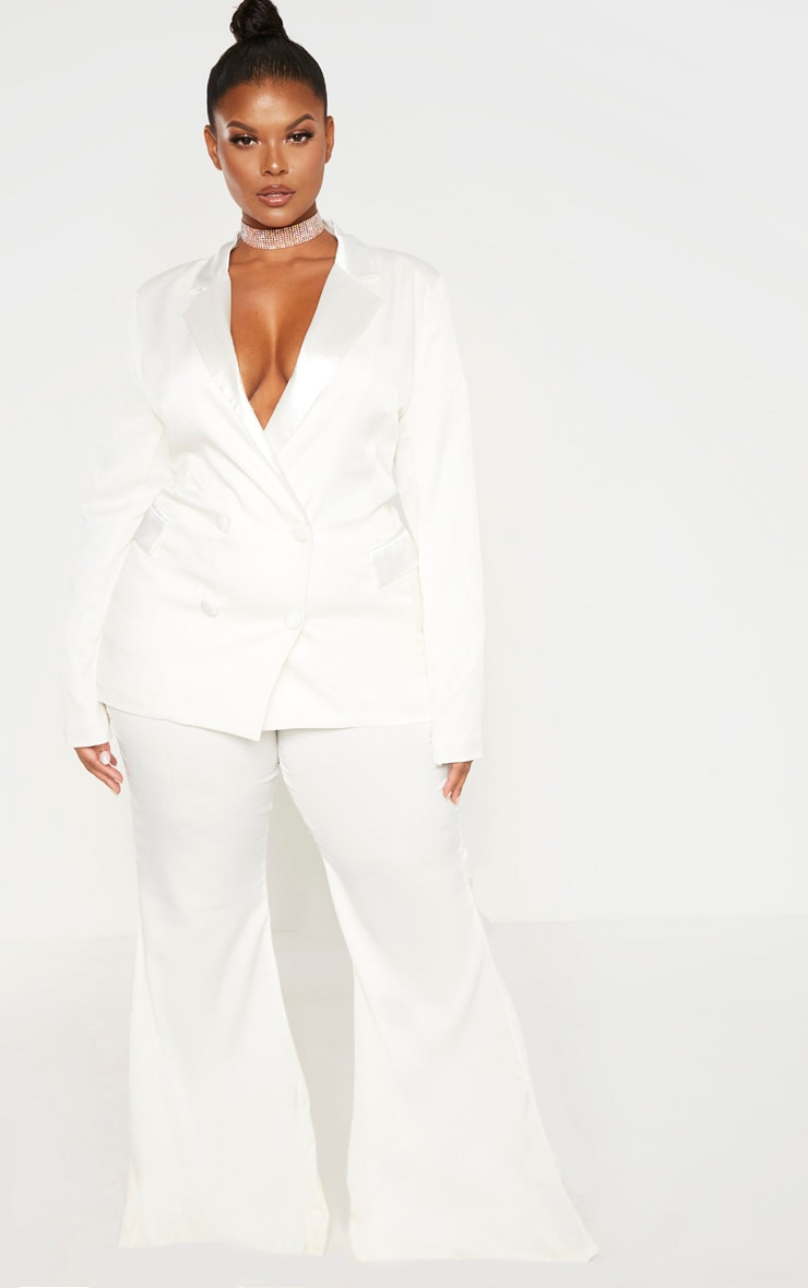 Plus Cream Tailored Extreme Flared Pants 1