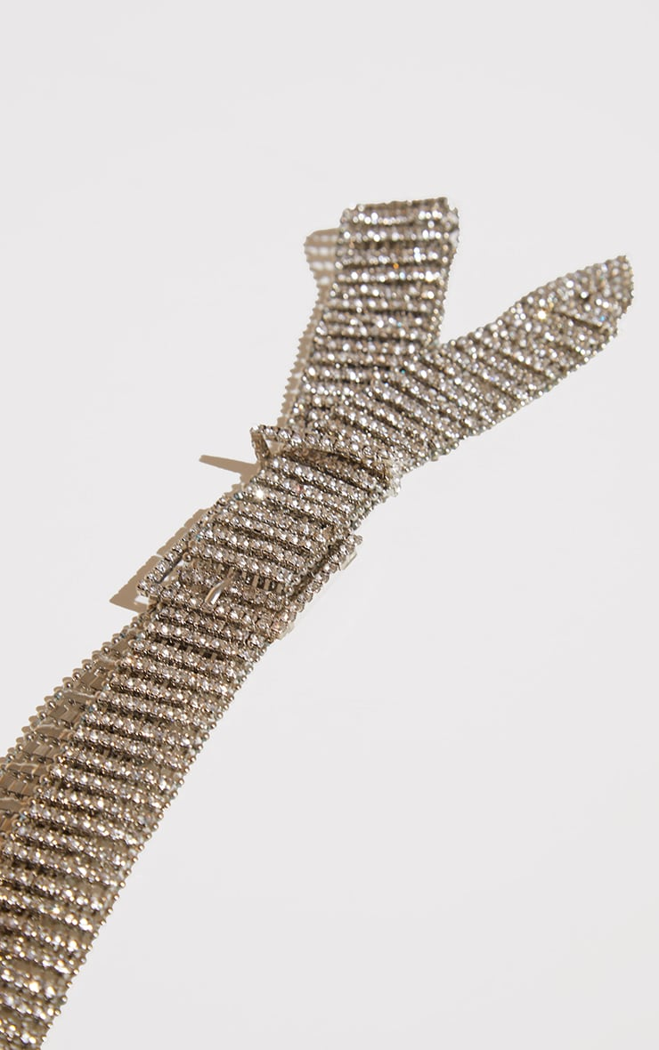 Silver Diamante Chain Link Belt 3