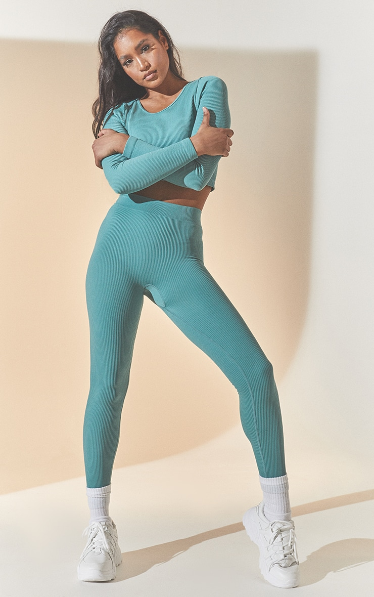 Washed Green Structured Contour Ribbed Leggings 1
