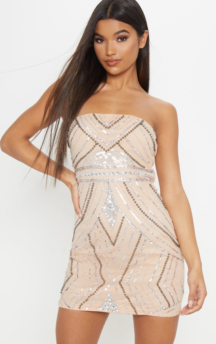 Nude Bandeau Sequin Pearl Embellished Bodycon Dress 1