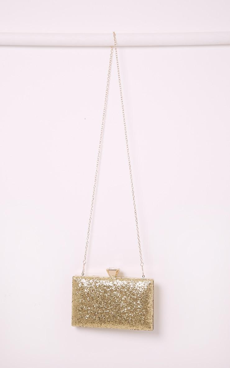 Dinnie Gold Glitter Box Clutch Bag 7