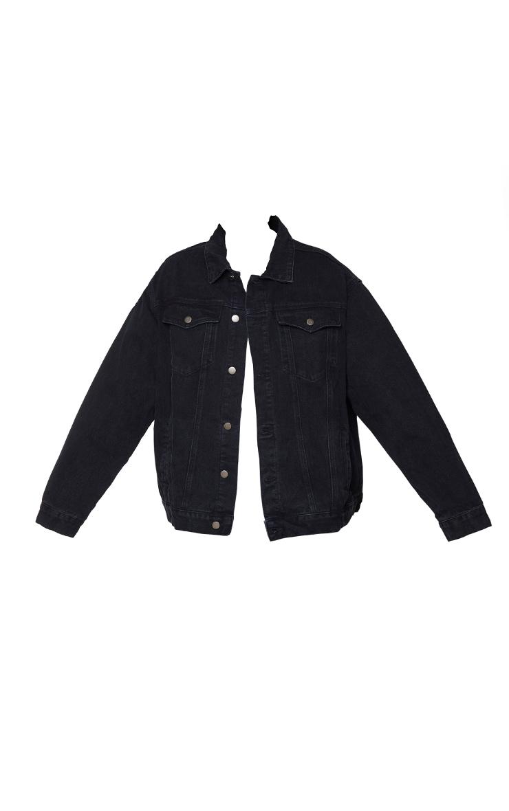 PRETTYLITTLETHING Plus Black Oversized Boyfriend Denim Jacket 5