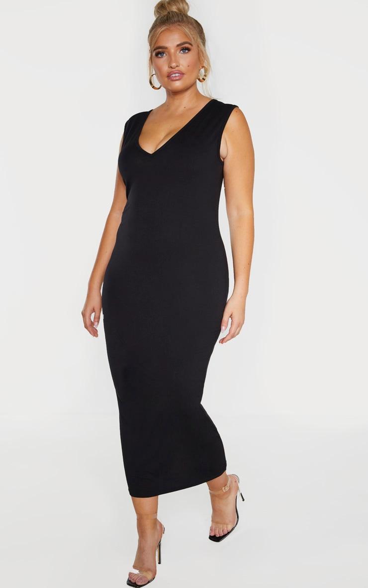 Plus Black Jersey V Neck Midaxi Dress  4