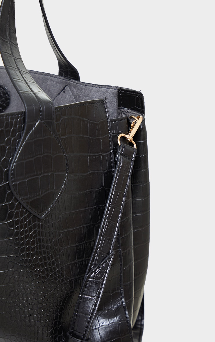 Black PU Croc Tote Bag 4