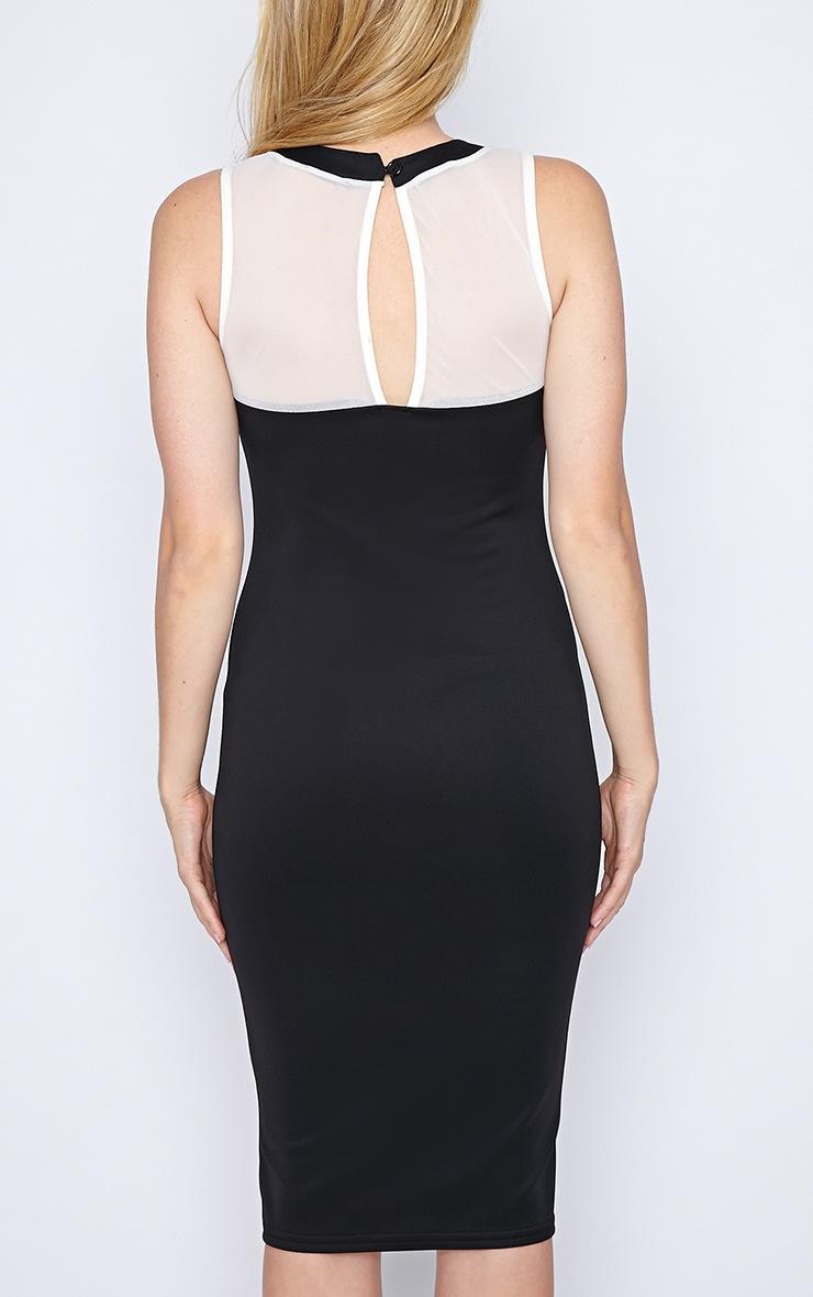 Marcie Black and Cream High Neck Bodycon Midi Dress  2