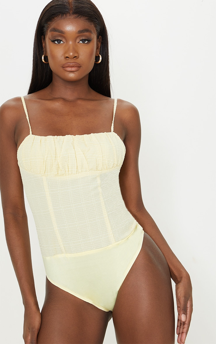 Tall Stone Ruched Strappy Bodysuit 2