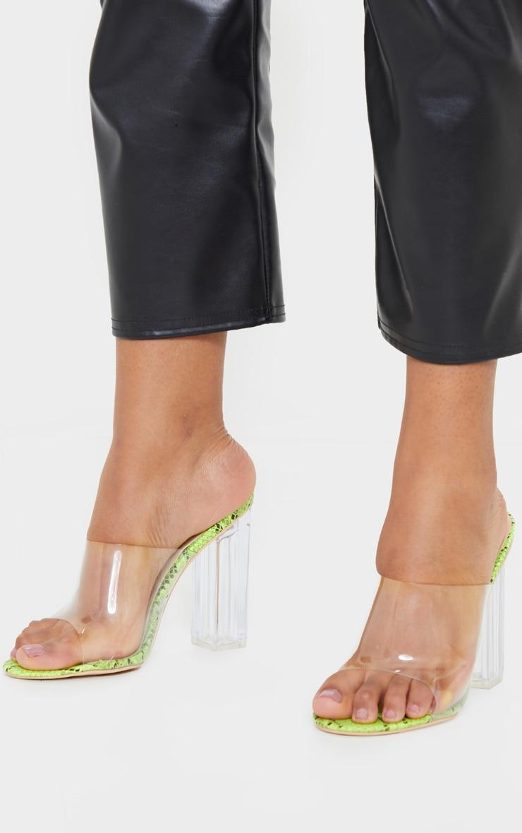 Green Snake Clear High Block Mule Heels 2