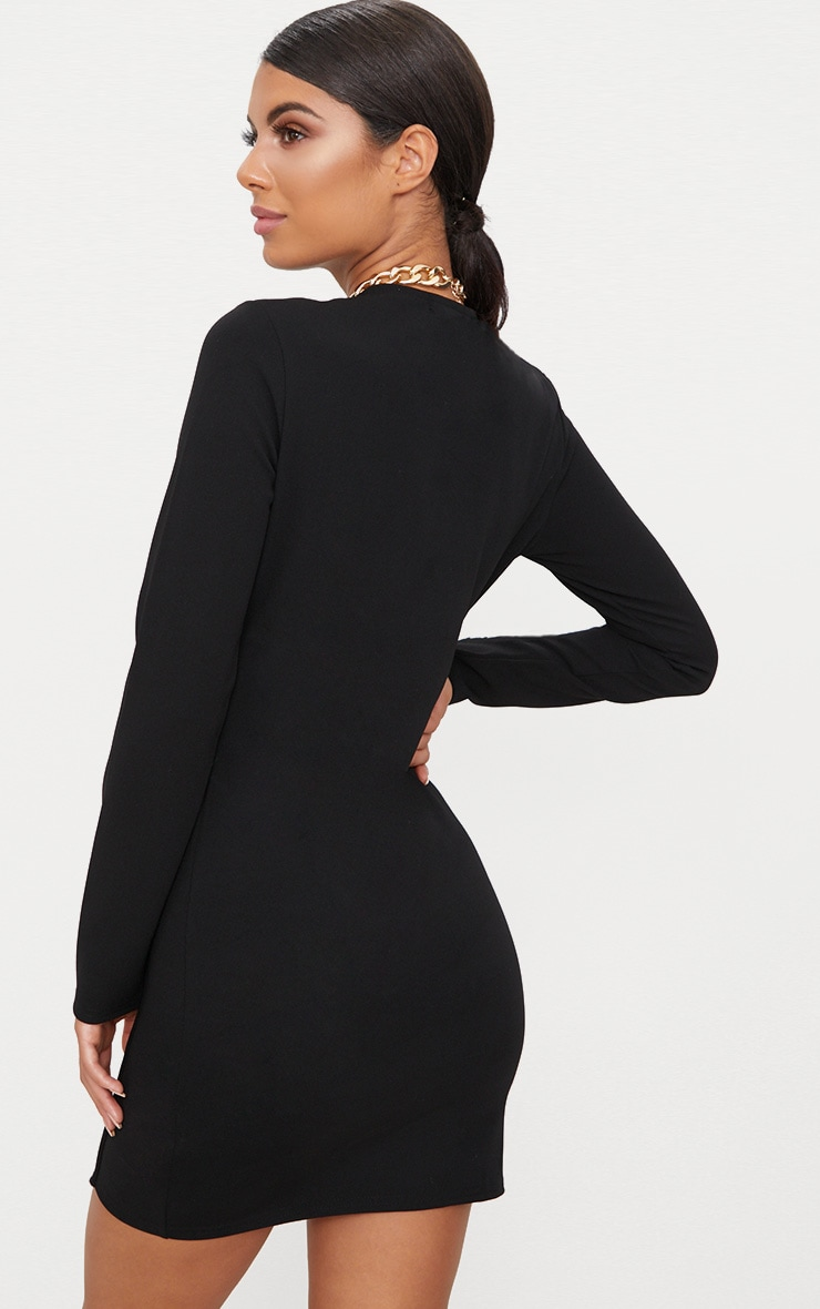 Black Long Sleeve Panelled Bodycon Dress  3