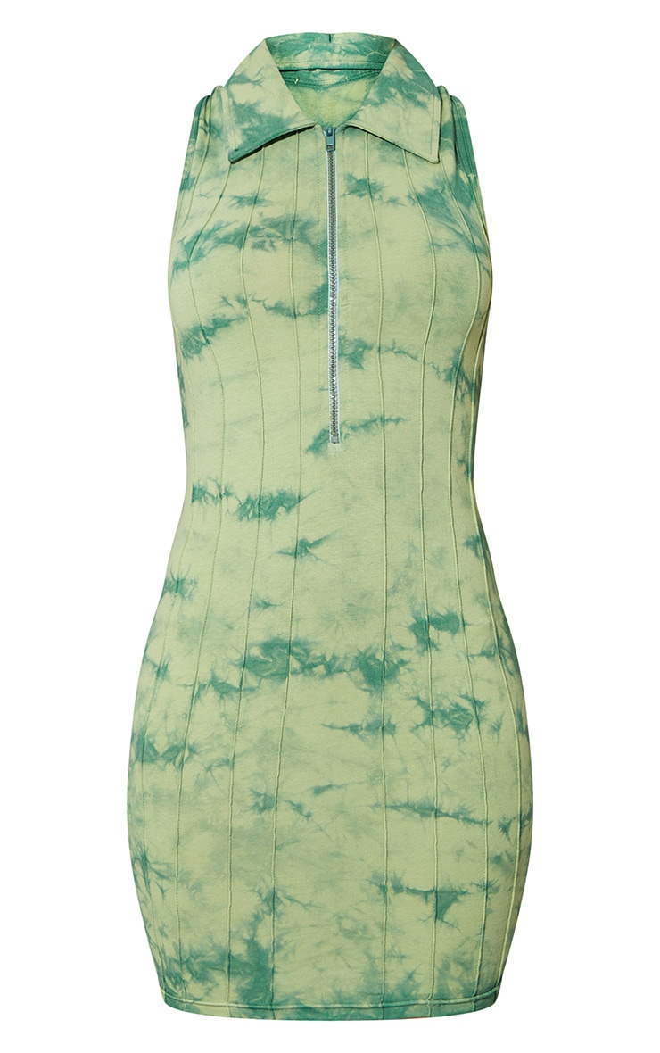 Green Tie Dye Zip Up Collar Detail Sleeveless Bodycon Dress 5