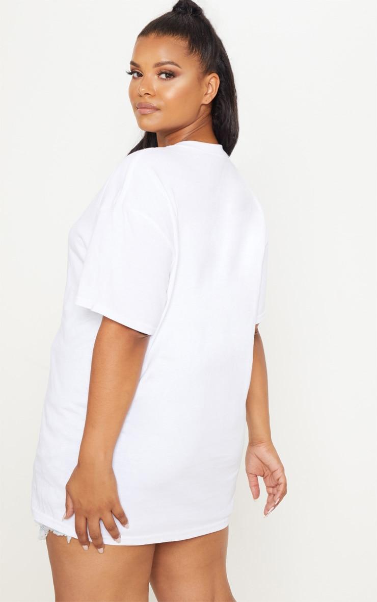 PRETTYLITTLETHING Plus White Oversized Slogan T Shirt  2