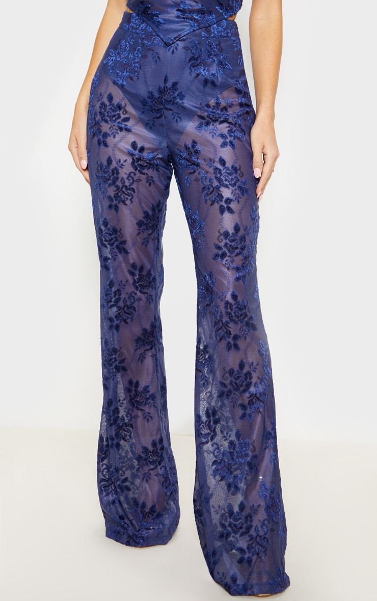 Navy Woven Floral Printed Flare Leg Pants 2