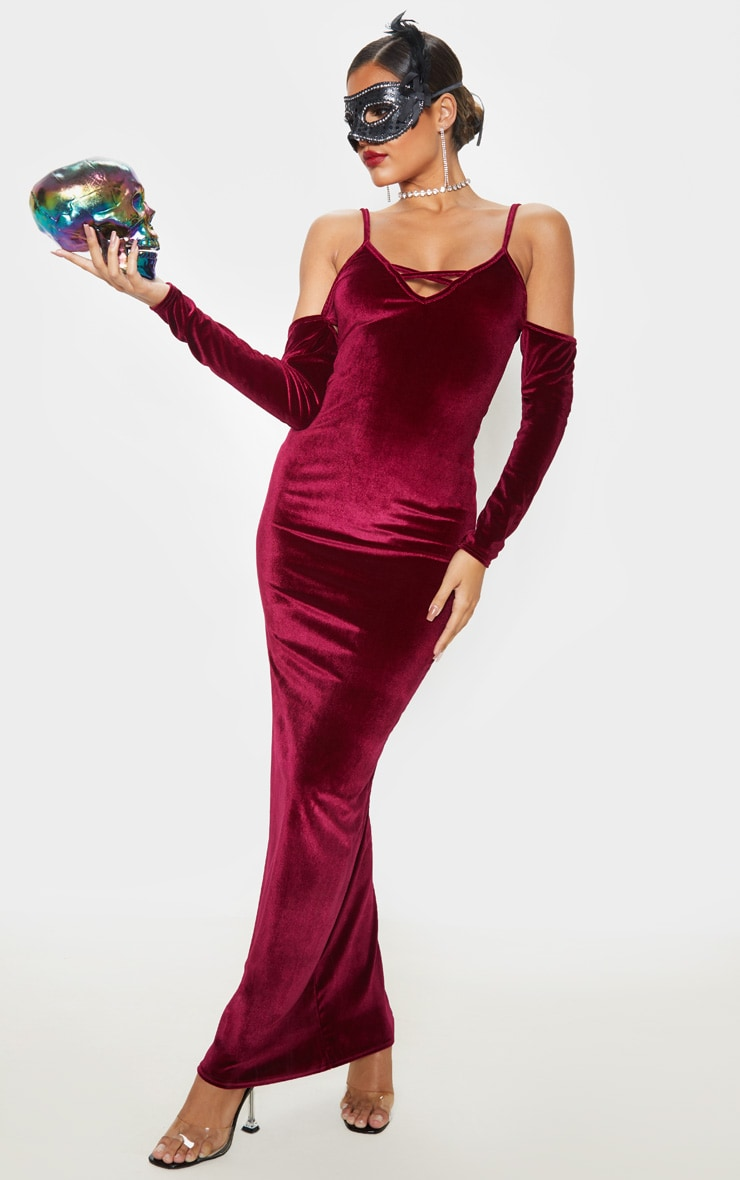 Burgundy Metallic Velvet Bardot Maxi Dress 1