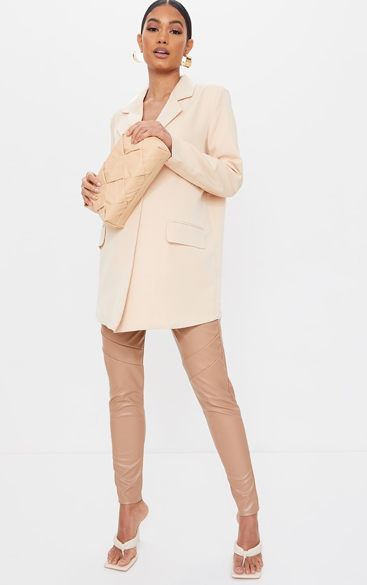 Maternity Stone Faux Leather Over Bump Leggings 1