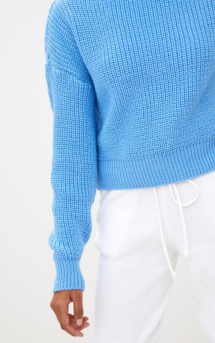 Christiana Blue Knit Slash Neck Crop Sweater 5