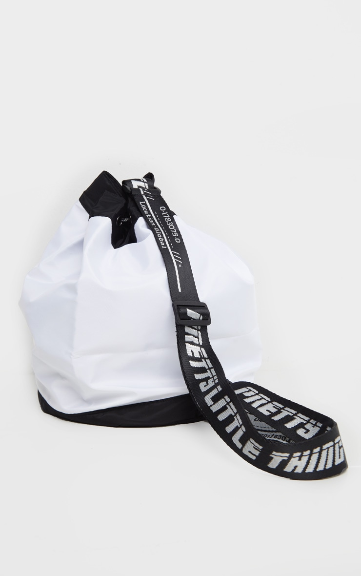 PRETTYLITTLETHING White Strap Nylon Drawstring Bag 2