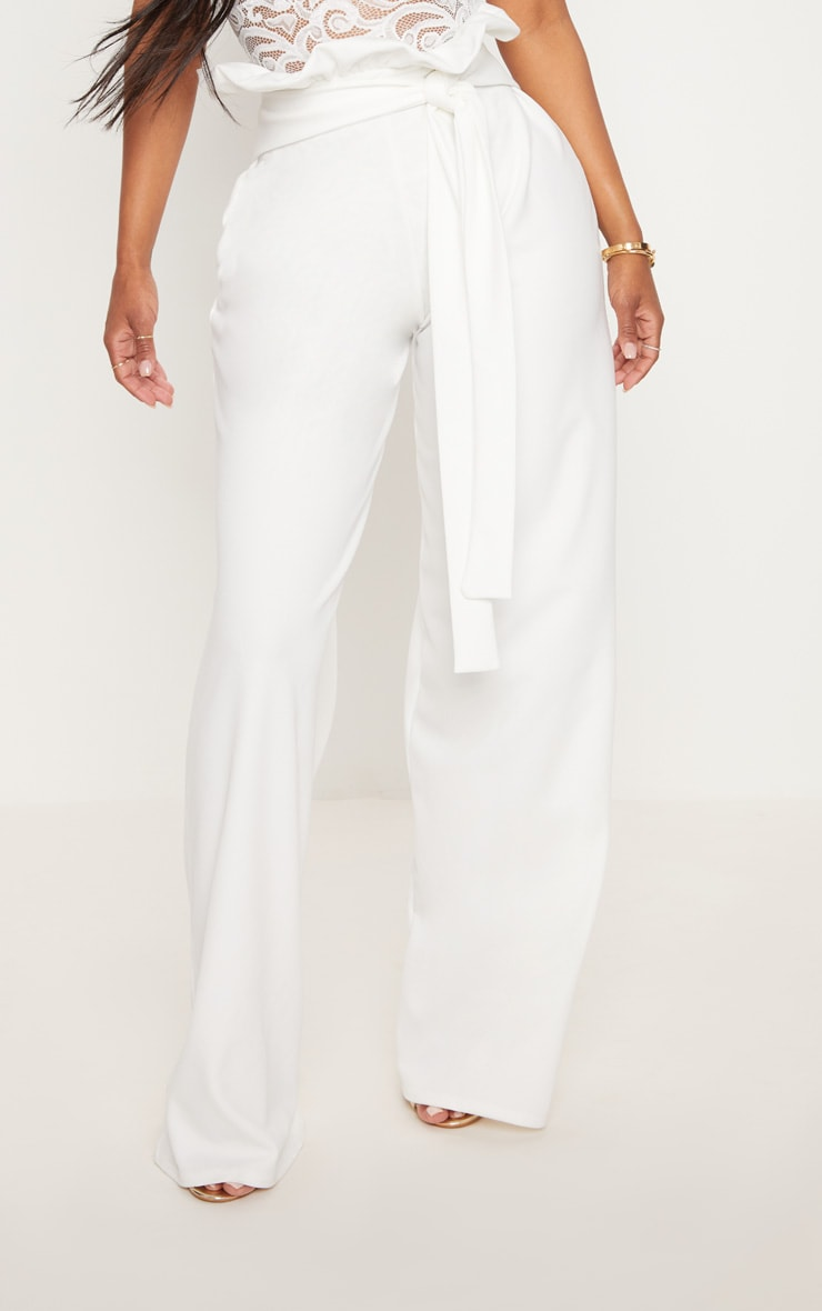 Shape White High Waist Paperbag Wide Leg Trousers 2