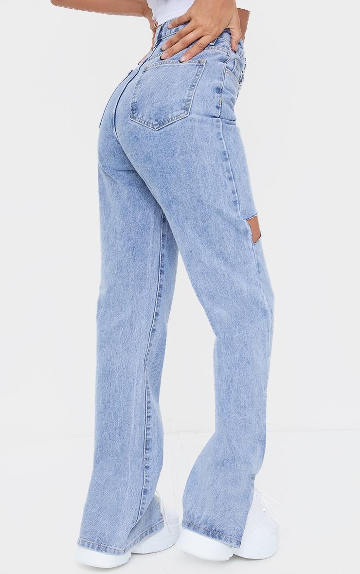 Light Blue Wash Thigh Rip Ripped Split hem Jeans 3