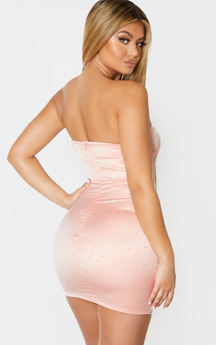 Blush Satin Diamante Detail Bandeau Bodycon Dress 2