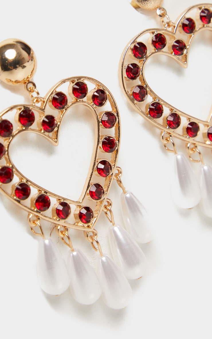 Red Crystal Pearl Heart Drop Earrings 2