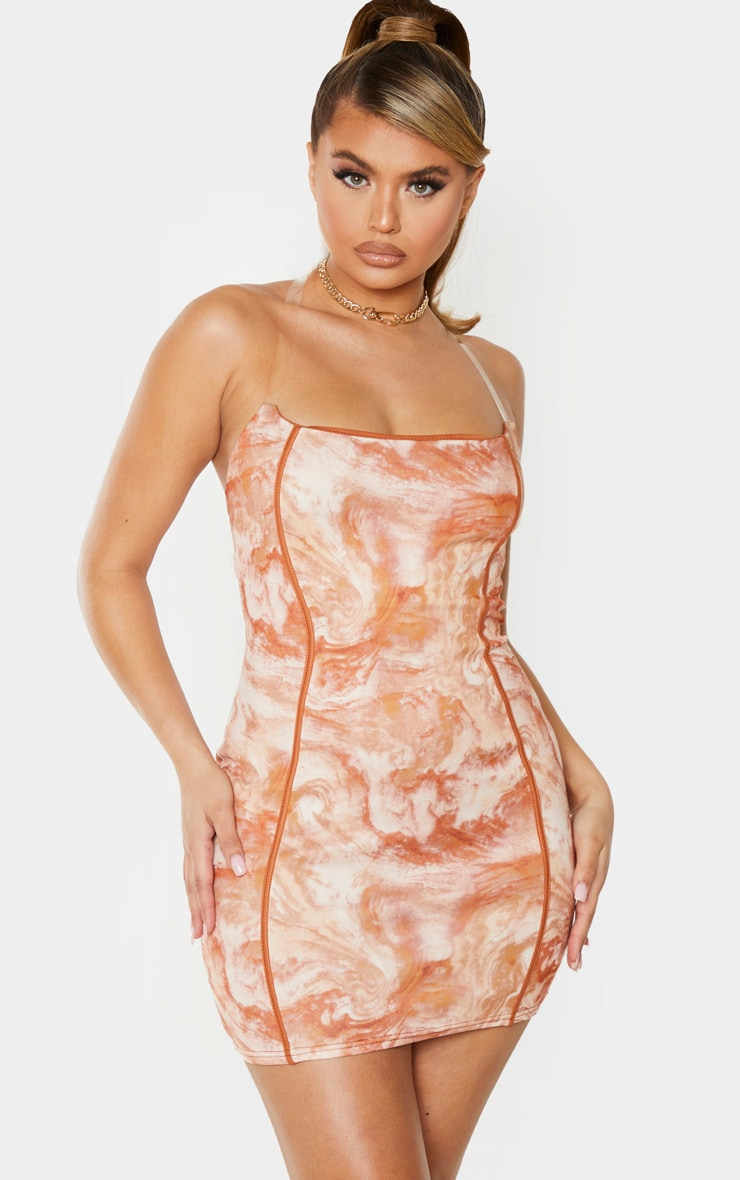Tan Marble Print Binded Detail Clear Strap Bodycon Dress 1